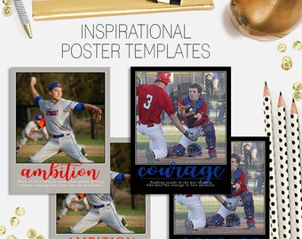 PSD inspirational poster - photoshop template for professional photographers - 11x14 - mix and match styles & layers - memory mate - sports