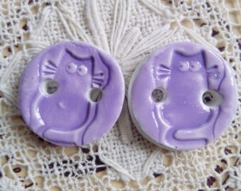 Purple cat clay buttons, air dry clay buttons, unique, handmade, cat buttons, set of two, round buttons, small buttons, knitting, crafts
