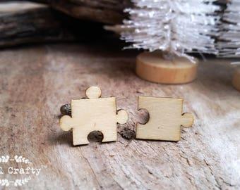 Jigsaw Puzzle Wooden Cufflinks puzzle pieces Boy friend Dad Grooms Best man Groomsman Rustic Wedding Birthday Gift Cuff links