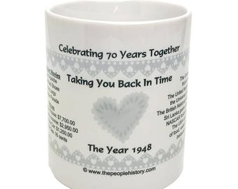 1948 70th Anniversary Mug - Celebrating 70 Years Together