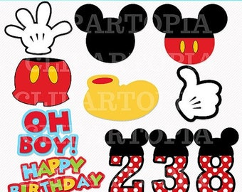 50%OFF SALE M. Mouse Digital Clipart / Diy Mickey Party for Personal and Commercial use / Instant Download