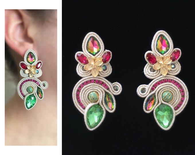 Statement soutache earrings with gold plated flower detail