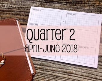 Traveler's Notebook A6 Size Week on Two Pages Grid Horizontal {Q2 | April-June 2018} #500-17