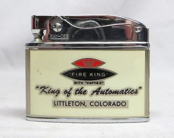 "Vintage Kay-Cee Advertising Lighter Fire King Co. ""King of the Automatics"" EXC!"