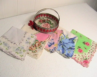 Candy Dish and Hankies, Nice Germany Candy Dish and Set of Vintage Hankies