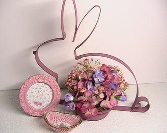 Easter decor, Metal Easter Bunny with Flowers, Picture Frame, Porcelain Basket, Japan