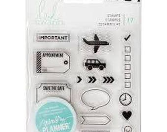 "Heidi Swapp TO DO ICONS clear silicone stamp set By American Crafts Planner 4"" x 4"" - 315133 cc10"