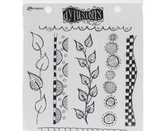 Cling Stamp Set Dylusions AROUND THE EDGE by Dyan Reaveley 7 pc  1.cc11