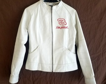NASCAR Dale Earnhardt Jr Wilson White Leather Jacket #3