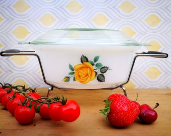 Casserole dish, Phoenix Glass Yellow Rose oven to table casserole dish with lid and stand, Milk glass like Pyrex / Arcopal, Vintage kitchen