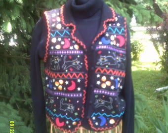 Vintage Embroidered Halloween Sweater Vest, size S Petite (4 to 8), by Studio, Halloween Vest 8, Button Halloween Vest, Halloween Top