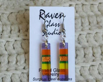 Multi-Color Dichroic glass earrings, Dichroic glass jewelry, Fused glass dangle earrings, EA281