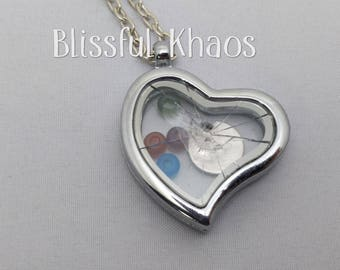 Heart Shaped Broken Glass Ceiling Necklace, Floating Charm Locket, Feminist, Nevertheless She Persisted, Life Accomplishment, Gift for Her