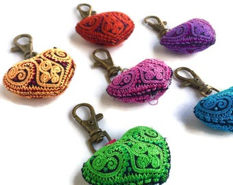 Wood, Shell and Pom Pom Zipper Pull / Key Chain Fair Trade - Thailand