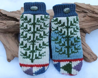 Wool sweater mittens lined with fleece with Lake Superior rock buttons in blue, green, white, red, and purple, Christmas, coworker gift
