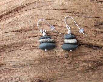 Lake Superior rock and sterling silver cairn earrings, dangle earrings, beach stone jewelry, Valentines, birthday, anniversary, rock jewelry