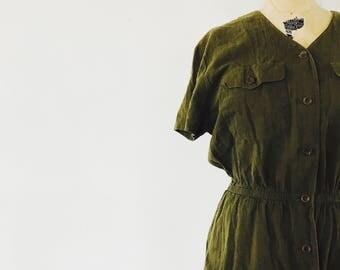 SALE / Simple Chic Cotton Dress / Military Inspiration / Safari Liz Claiborne / Size Large