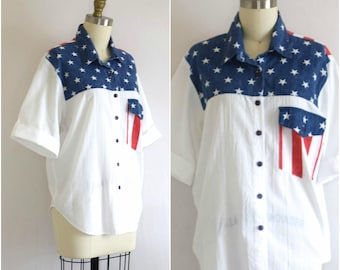 American Button Down Shirt/ Stars & Stripes Shirt/ 80s Fourth of July Top/ Womens Size Small Medium