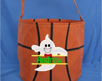 Sport Ball Embroidered Halloween Bucket - Monogrammed Trick or Treat Candy Bag - Personalized Basketball Halloween Candy Bucket - Football