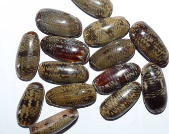 13 oval beads on wood style tortoise shell Brown Shell for jewelry making reptile skin