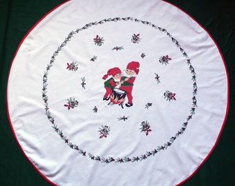 round Christmas Vintage tablecloth printed dwarfs Xmas table cloth