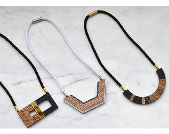 Semicircle Blocks Geometric Necklace/ Statement Necklace/ Wooden Necklace
