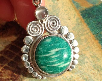 Sajen Amazonite Pendant with Moonstone Sterling Silver Designer Jewelry Gems On The Rocks