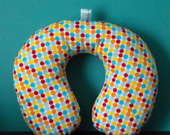 Multicolored dots, toddler size travel pillow