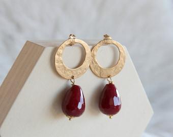 Agate bordeaux earrings