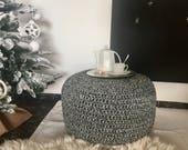 Black & White Round Floor Pouf Ottoman, Knit Ottoman Foot Stool Pouf, Large Crochet Floor Pillow, Modern Chunky Pouffe, Knitted Stool Pouf