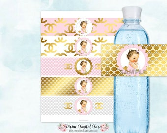 Water Bottle Labels | Pink Gold White | Light Skin Tone Baby Girl | Digital Instant Download