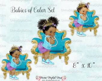 Baby Girl w/ Chair Turquoise Teal & Purple Gold Tiara High Top Sneakers Pearls   Babies of Color Set   Clipart Instant Download