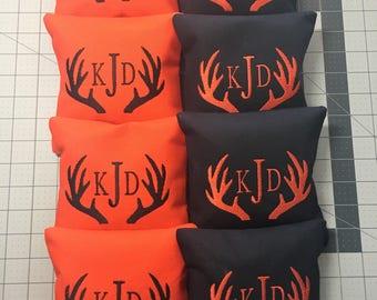 8 CORNHOLE BAGS Custom Embroidered: monogram antlers