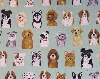 Dog Show Fabric in Green - Japanese Cotton Linen Fabric - Lightweight Canvas - Kids Quilting Fabric - Kokka - HALF YD
