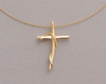 15%OFF-Ships on Sept15 Womens cross necklace, gold plated cross on wire, handmade sterling silver jewelry ST627x