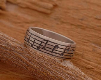 15%OFF-Ships on Sept15 Sterling Silver Music Note Ring, Music Ring,  Mens Ring, Note Ring, Music Lover Gift DA27