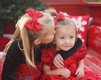 Red Sparkle Christmas Bow | Fabric Bow | Handmade Hair Bow | Hair Clip | Headband