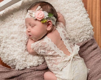 Newborn photo outfit girl lace romper set, newborn girl mocha pink ivory  lace photo outfit baby girl open back romper newborn photography