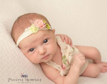 Newborn girl romper prop cream and pink photo outfit baby girl open back romper and headband  props newborn photography RTS