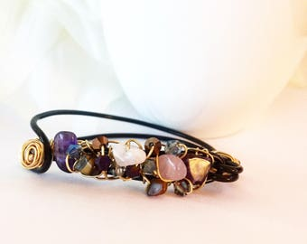 IN STOCK! Black & Gold Cuff Clasp Bracelet - Crystals Stones -  In-Stock! Lightweight Delicate Birthday Gifts For Her Bachelorette Teenager