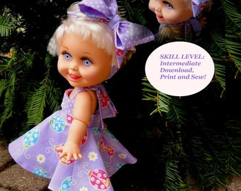 Doll Clothes PDF Pattern for 13'' Galoob Baby Face Doll by NVME GBF-22 .Summer Dress and headband with fancy bow.