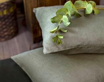 Moss Green Linen Pillowcase/Natural Linen/Softened Linen/Pillow Cover