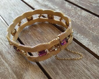 French vintage gold plated  Snake chain large bracelet crystal  bracelet retro vintage signed jewelry