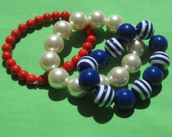 Lot Of Retro Red White & Blue Beaded Stretch Bracelets Restring