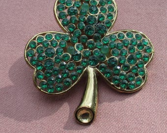 Retro Green Shamrock St Patrick's Day Light  Up Brooch Does Not Light Needs New Batteries