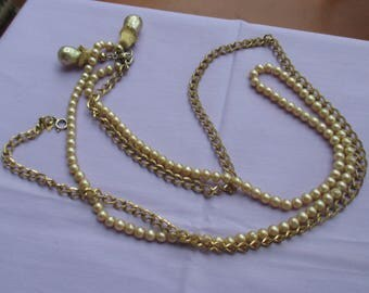Vintage Sarah Coventry Champagne Colored Faux Pearl Chain Necklace With Dangles TLC