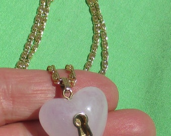 Retro Pale Lilac Heart Key Hole Long Chain Necklace