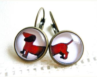 Earrings glass cabochons, sausage dog, dachshund, asymmetrical, bronze. Fun and original.