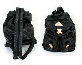 Vintage 90s Backpack / 90s Black Backpack / Eco Leather Backpack / Grunge Bag / Drawstring Backpack /