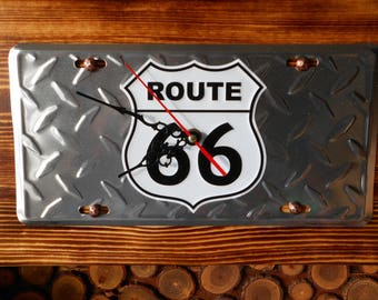 Route 66 Sign License Plate Wall Clock, Handmade, Unique, ManCave, Gift.